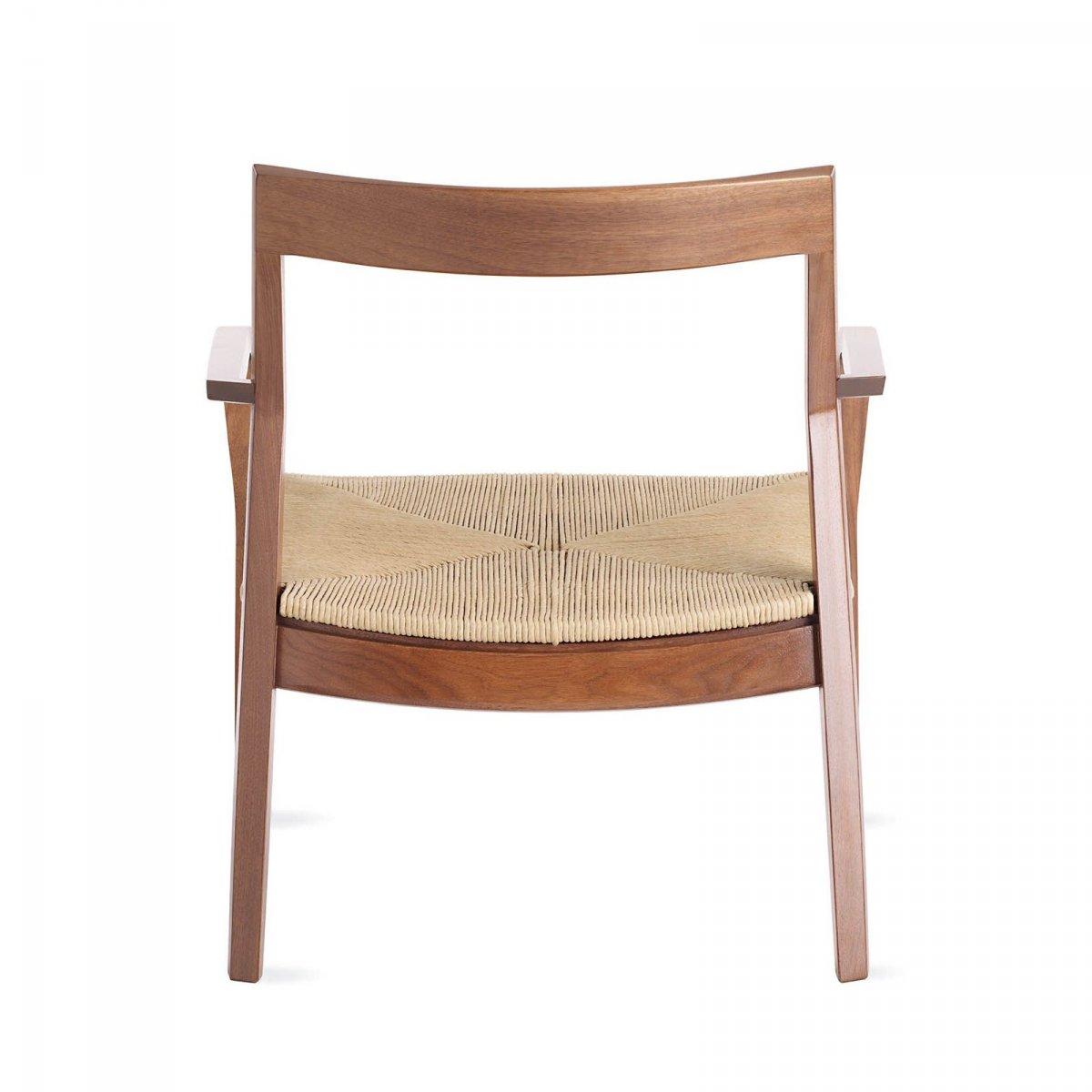 Krusin Lounge Arm Chair, walnut, back view.