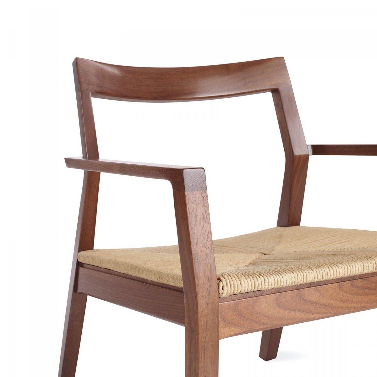 Krusin Lounge Arm Chair, walnut, detail.
