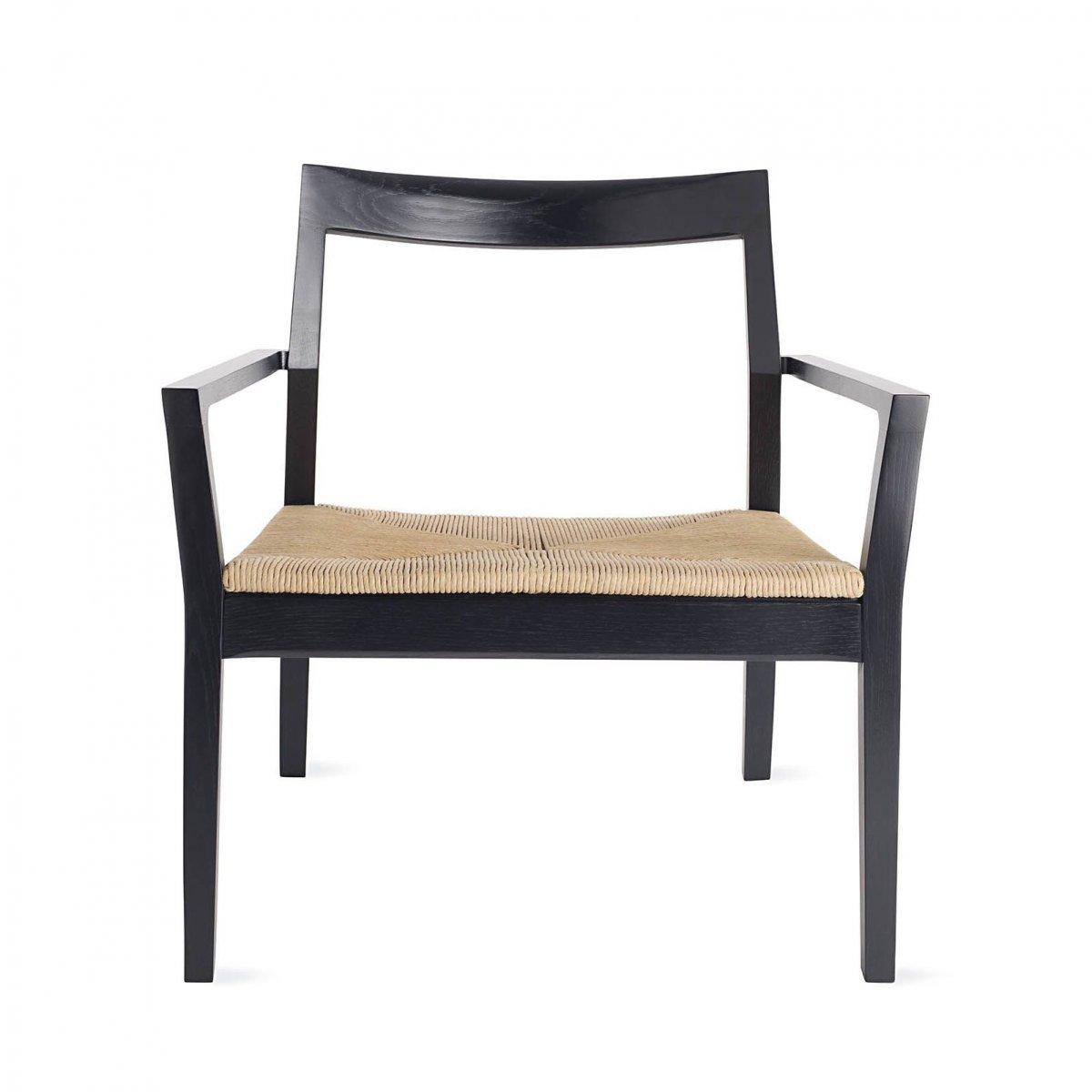 Krusin Lounge Arm Chair, ebonized oak, front view.