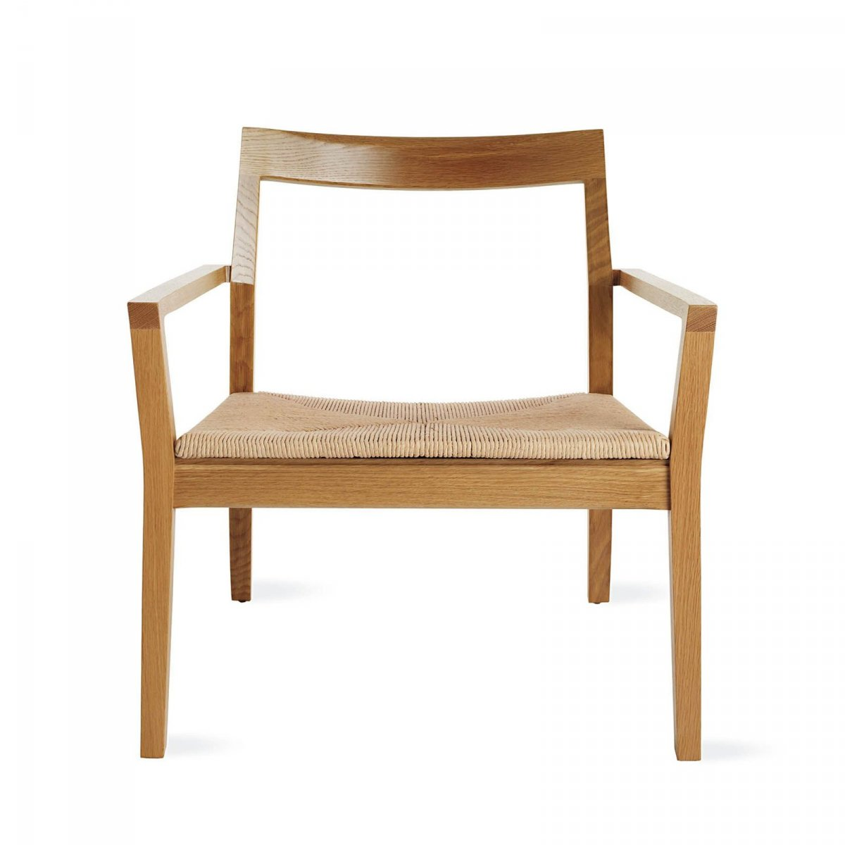 Krusin Lounge Arm Chair, natural oak, front view.