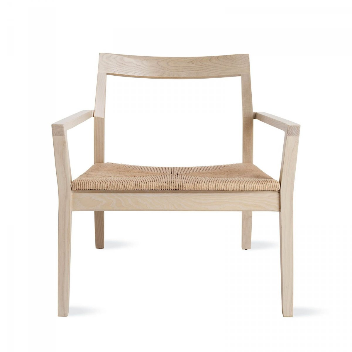 Krusin Lounge Arm Chair, white ash, front view.