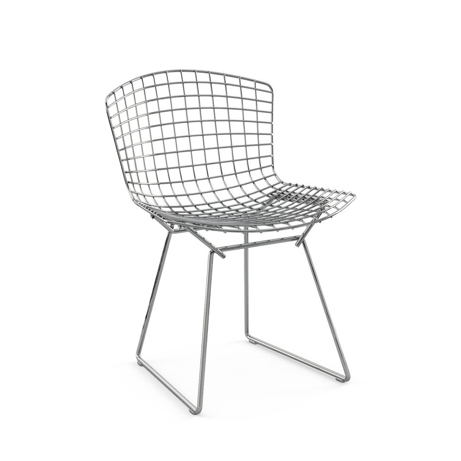Bertoia Side Chair without Seat Pad, polished chrome.