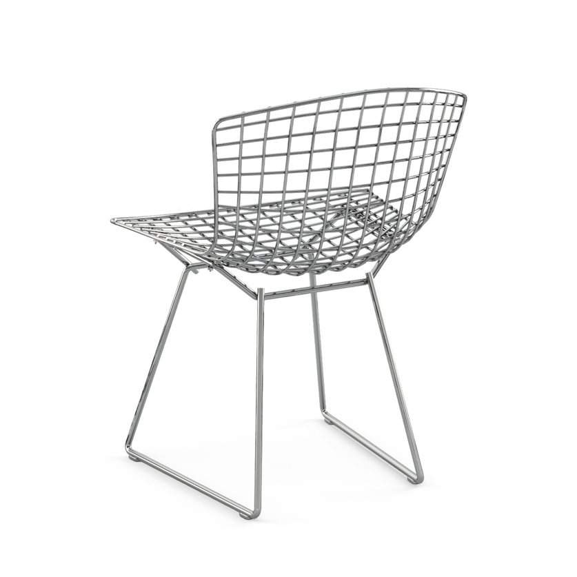 Bertoia Side Chair without Seat Pad, polished chrome, back view.