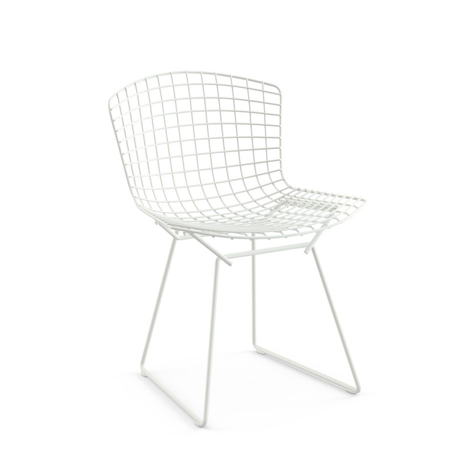 Bertoia Side Chair without Seat Pad, white.