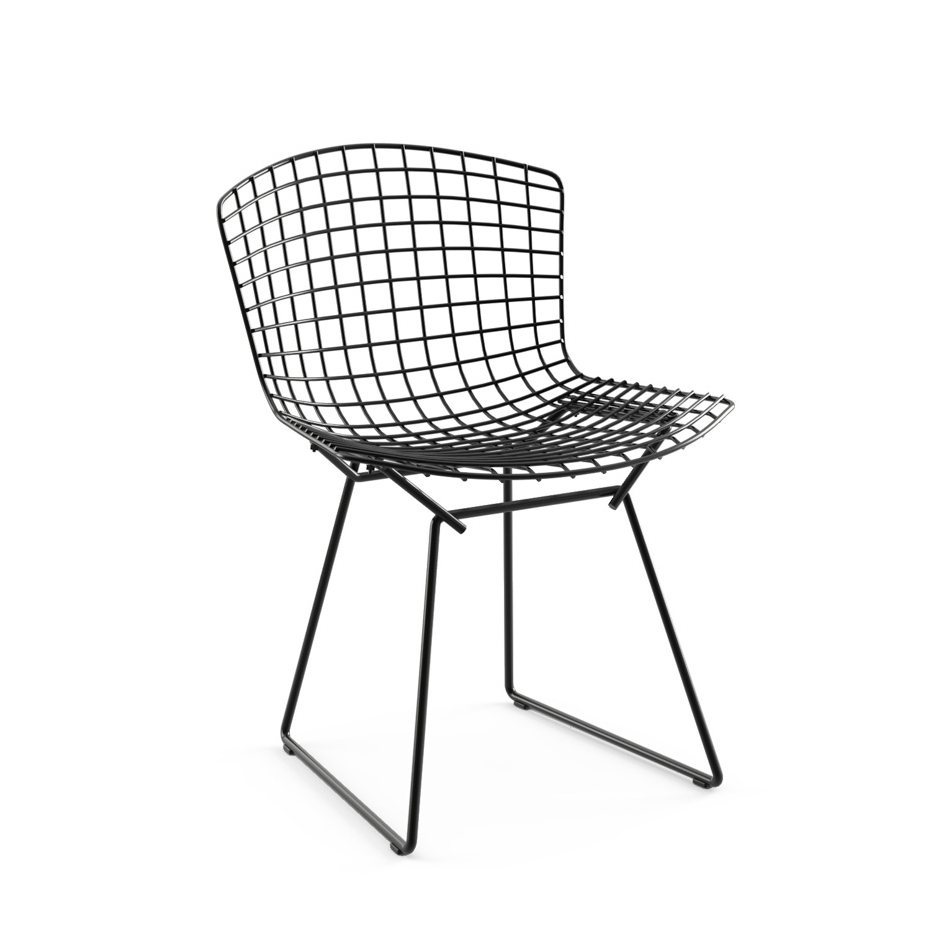 Bertoia Side Chair without Seat Pad, black.