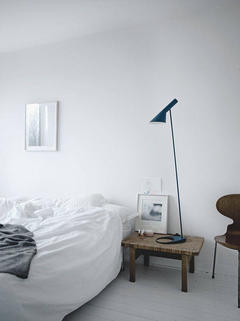 Bedroom with AJ Floor lamp.