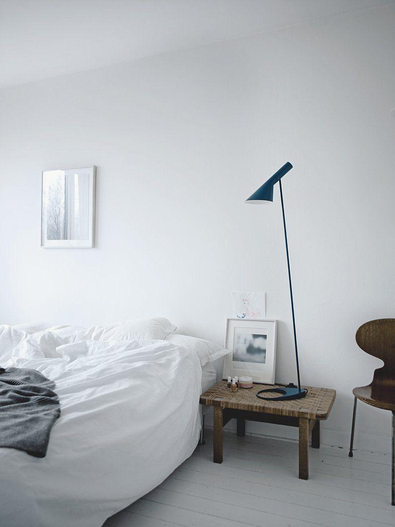 Bedroom with AJ Floor lamp.