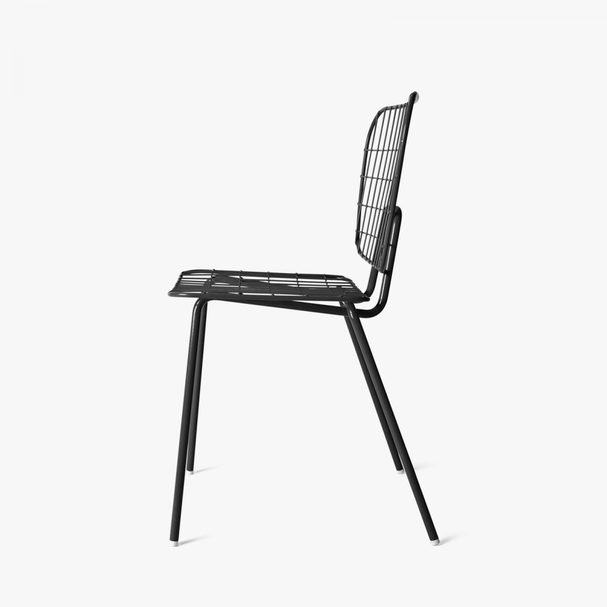WM String Dining Chair, black, side view.