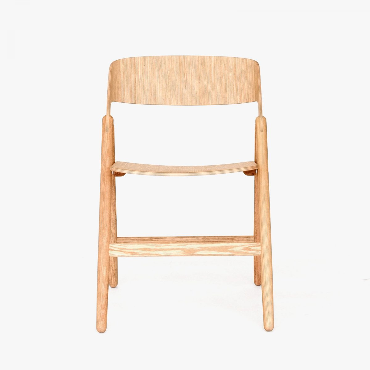 Narin Folding Chair, oak, front view.