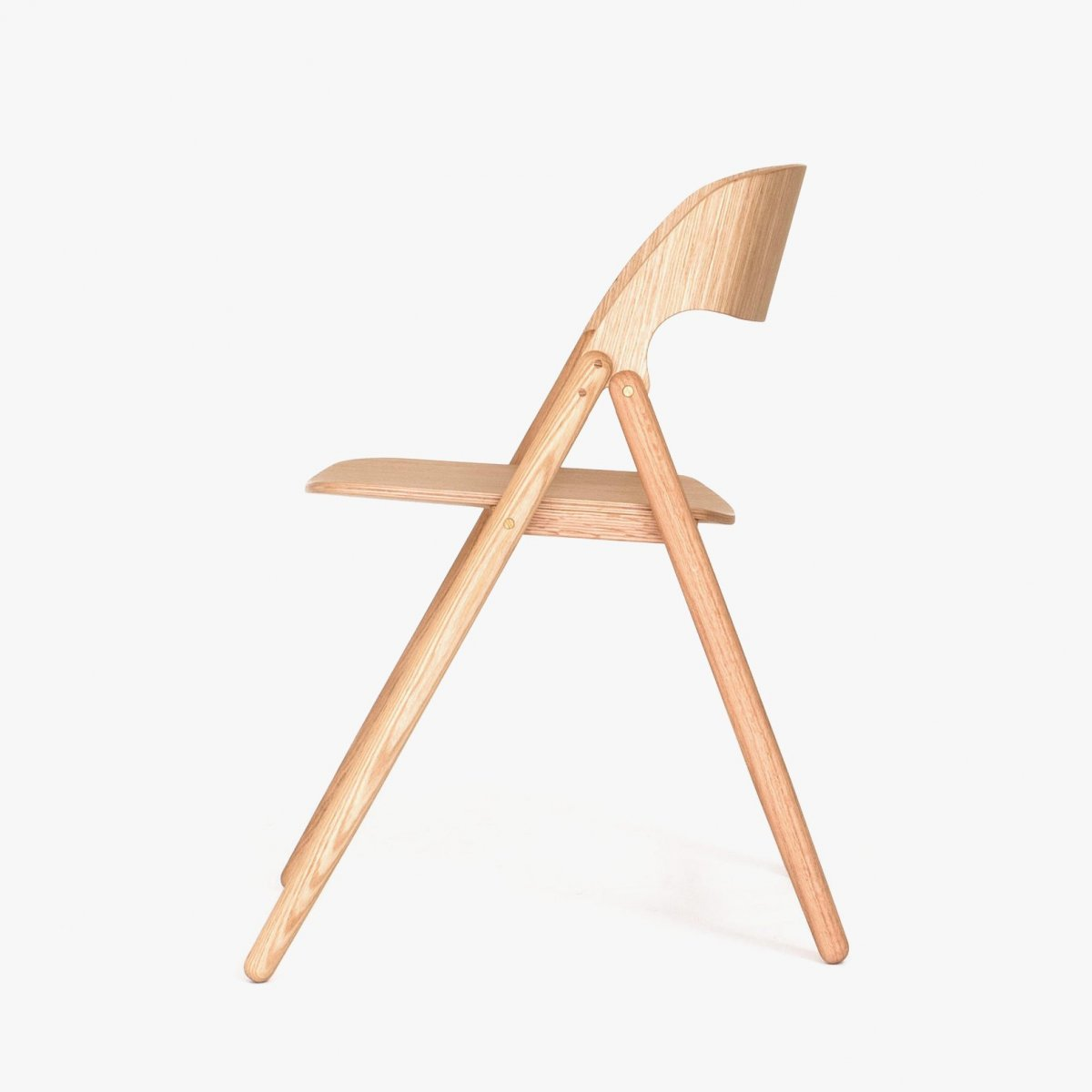 Narin Folding Chair, oak, side view.