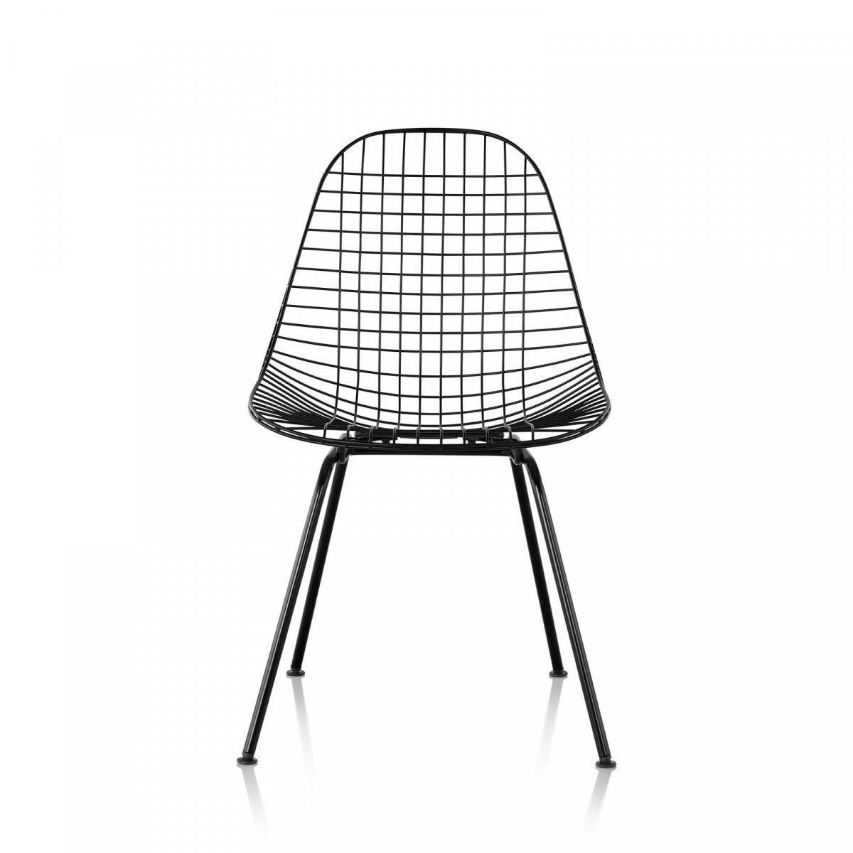 Wire Chair 4-Leg Base, black, front view.