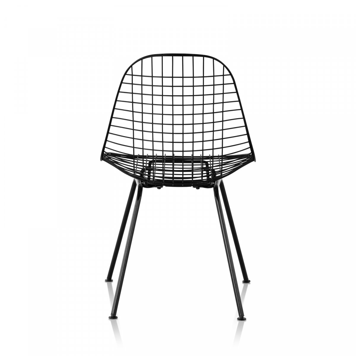 Wire Chair 4-Leg Base, black, back view.