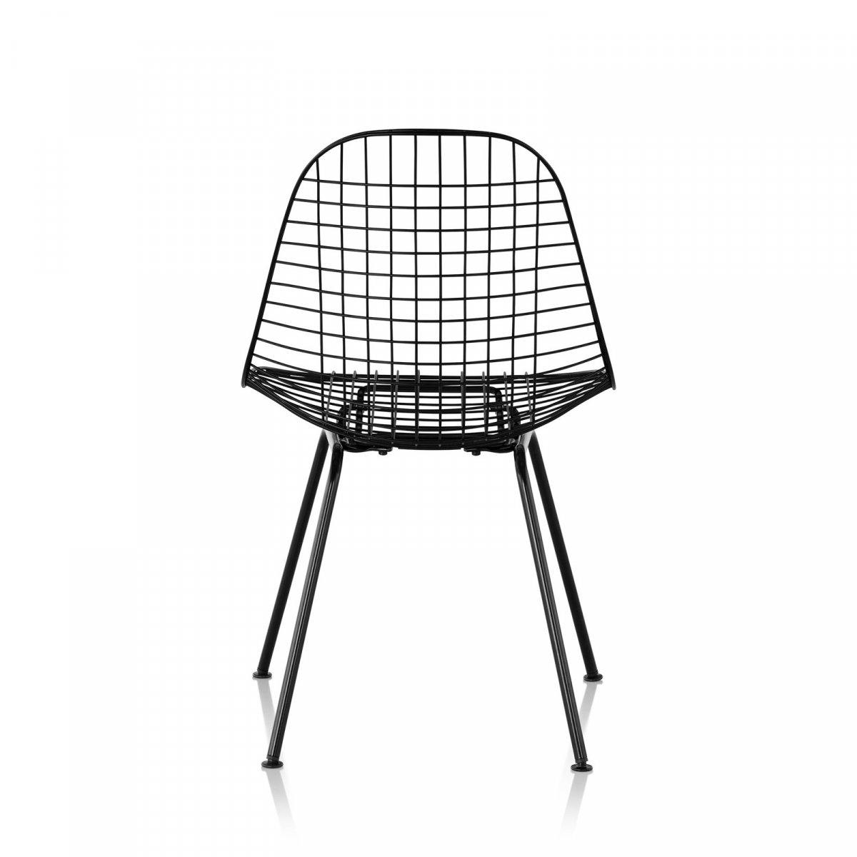 Wire Chair 4-Leg Base, black, back view.