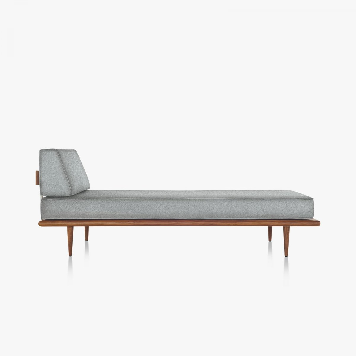 Nelson Daybed with Side Bolster and Wood Taper Legs, walnut, side view.