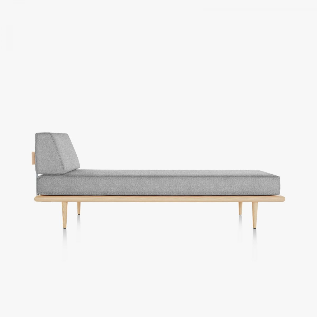 Nelson Daybed with Side Bolster and Wood Taper Legs, white ash, side view.