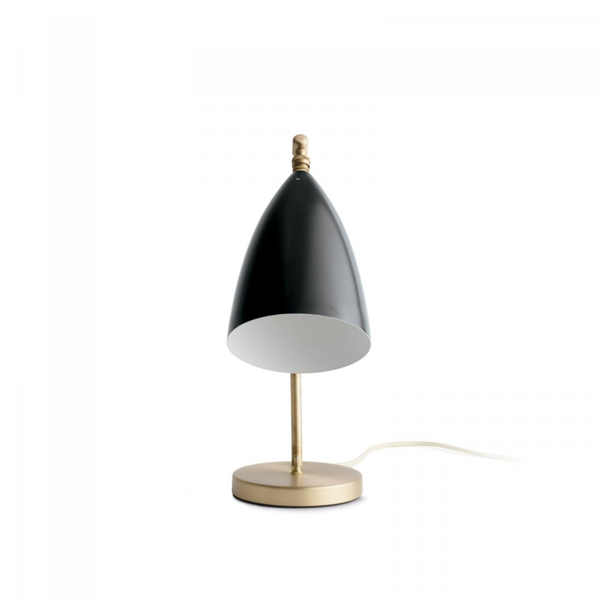 Grossman Gräshoppa Task Table Lamp, jet black, front view.