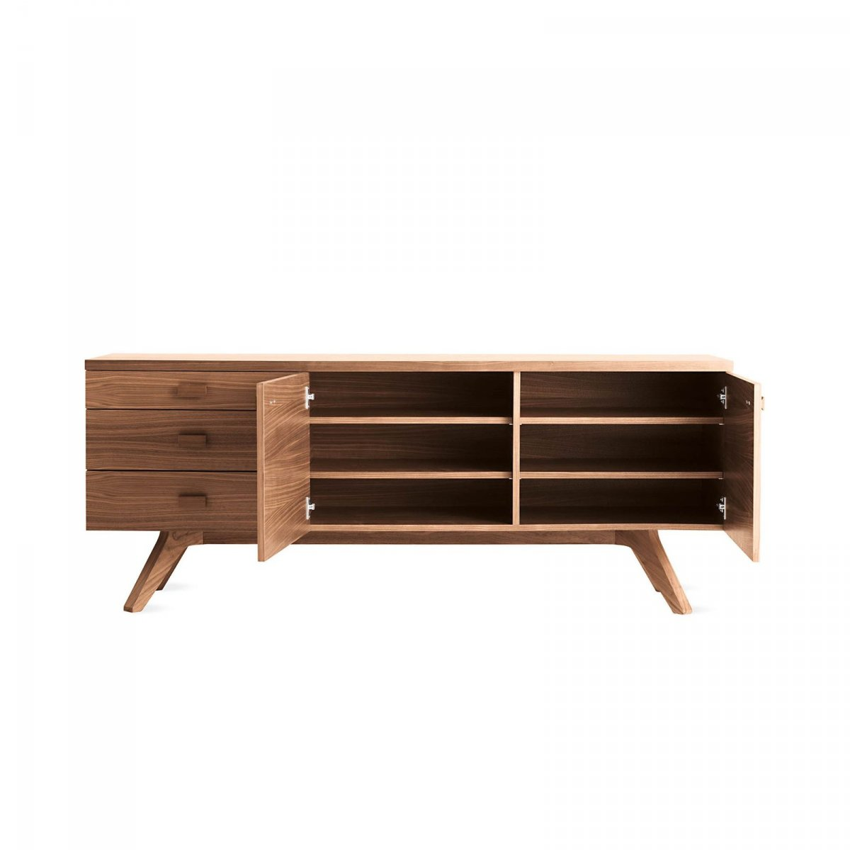 Cross Sideboard, walnut, doors opened.