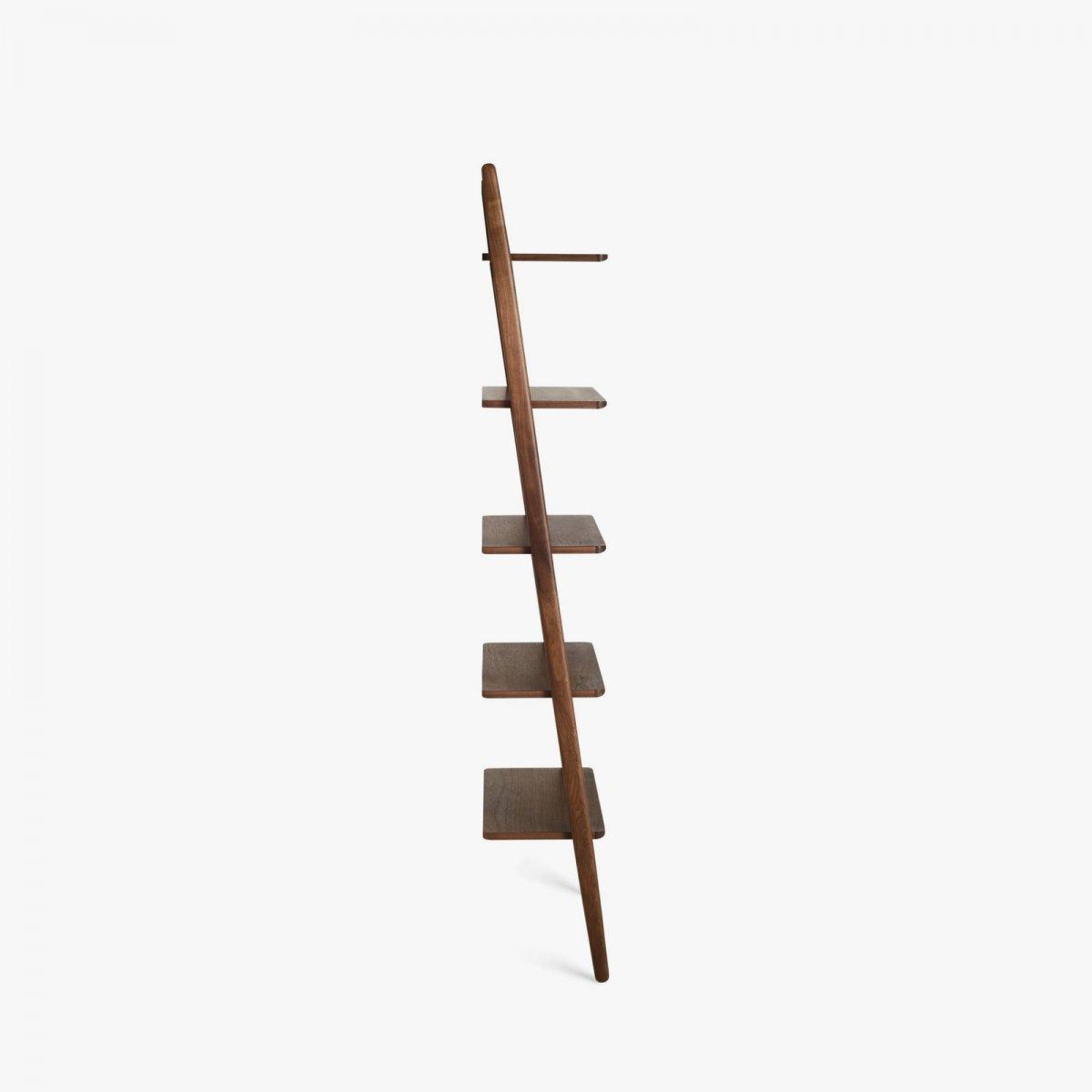 Folk Ladder Shelving, walnut, side view.