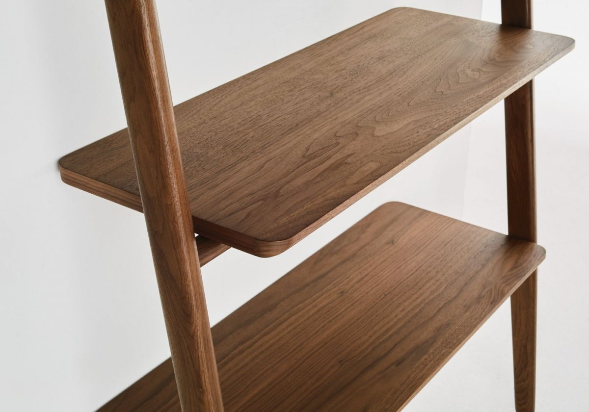 Folk Ladder Shelving, walnut, detail.