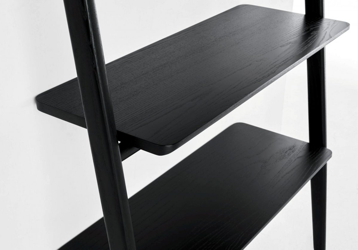 Folk Ladder Shelving, black, detail.