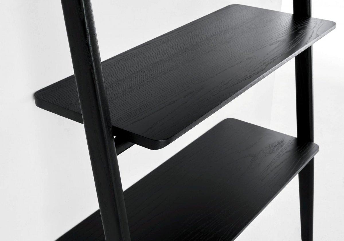 Folk Ladder Shelving, black, detail.