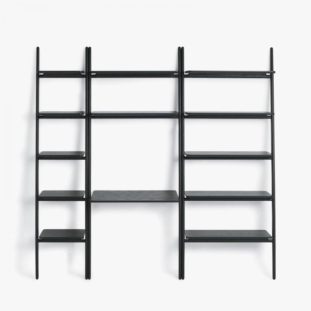 Folk Ladder Shelving & Desk Shelving, black.