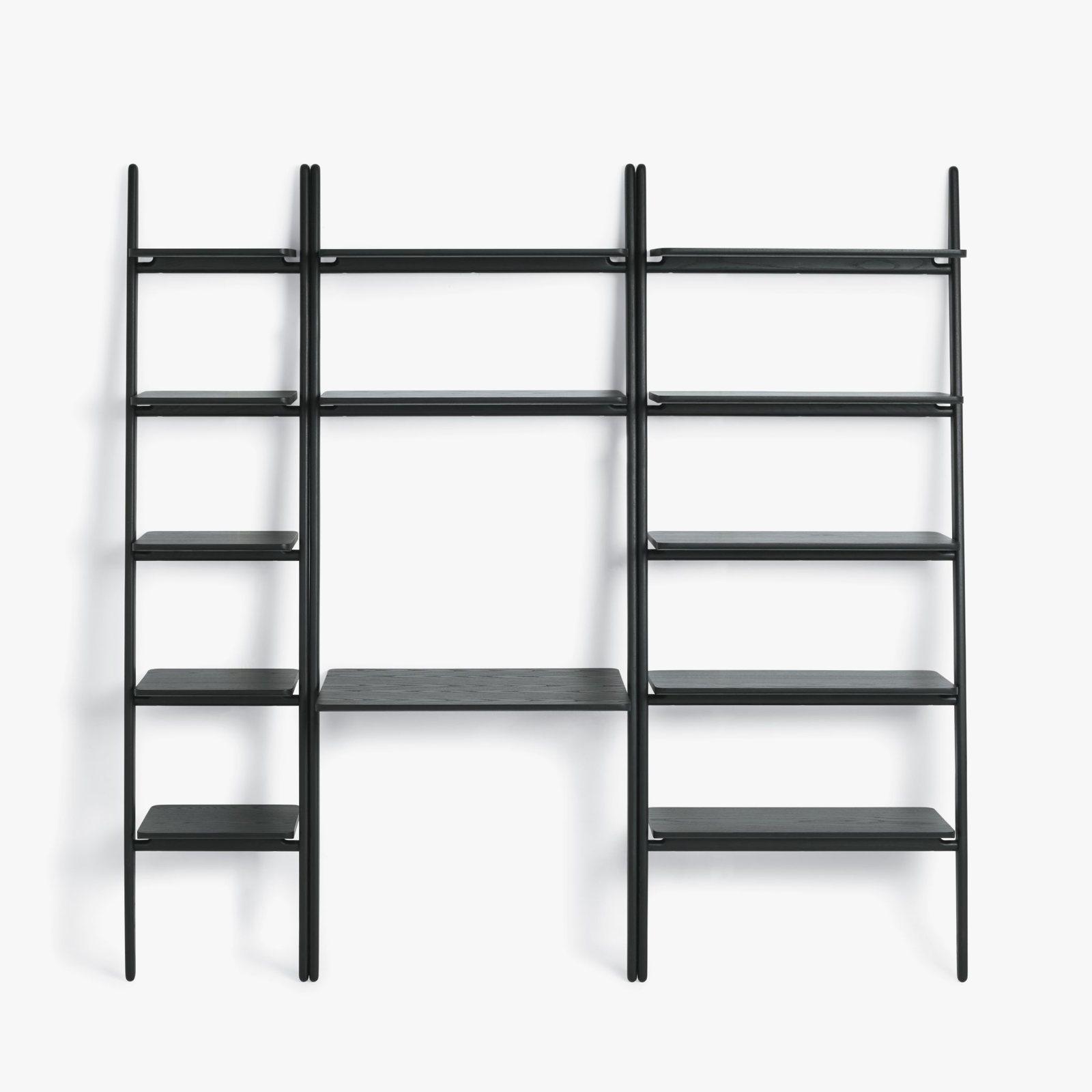 Folk Ladder Shelving Desk Black