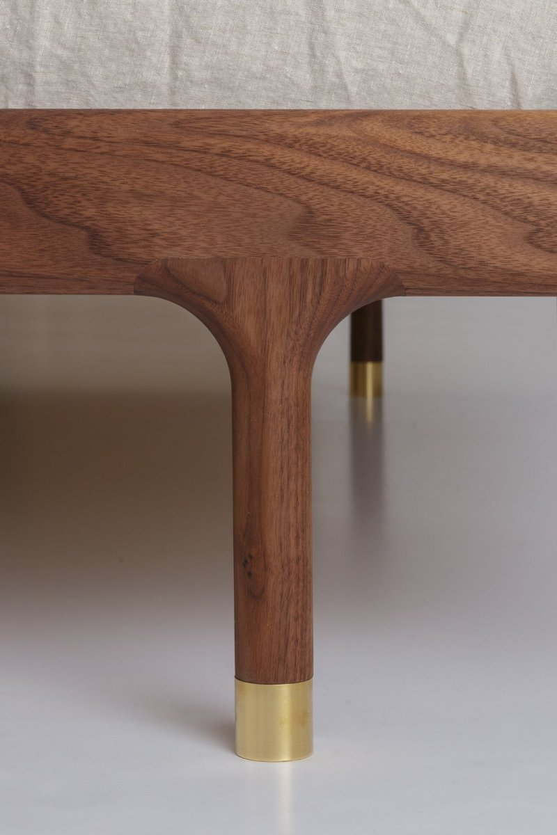 Simple Bed walnut, leg detail.