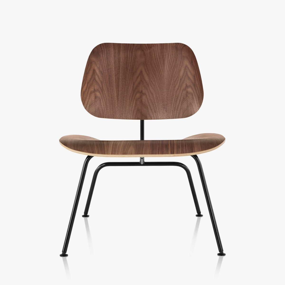 Eames Molded Plywood Lounge Chair Metal Base, walnut + black, front view.