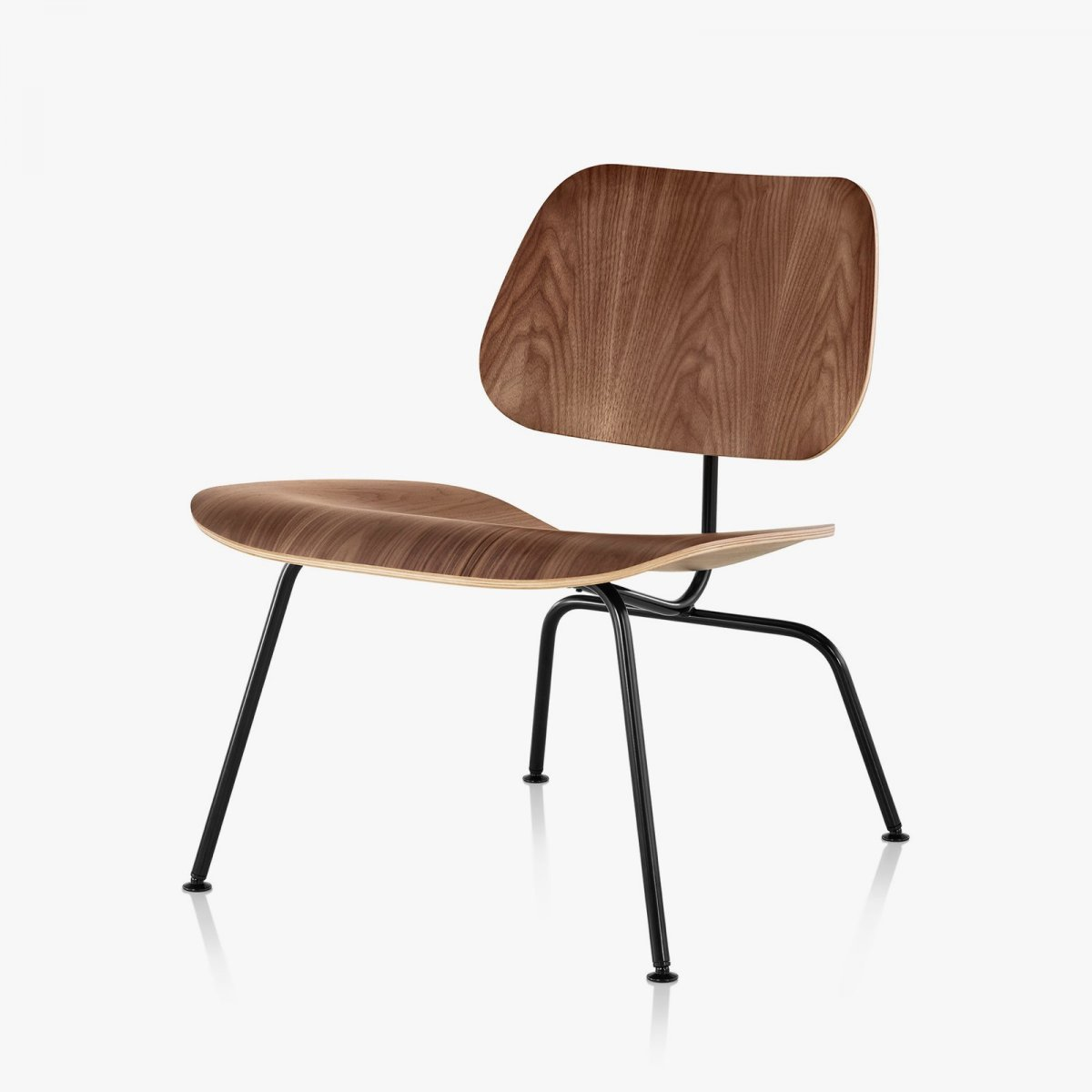 Eames Molded Plywood Lounge Chair Metal Base, walnut + black.
