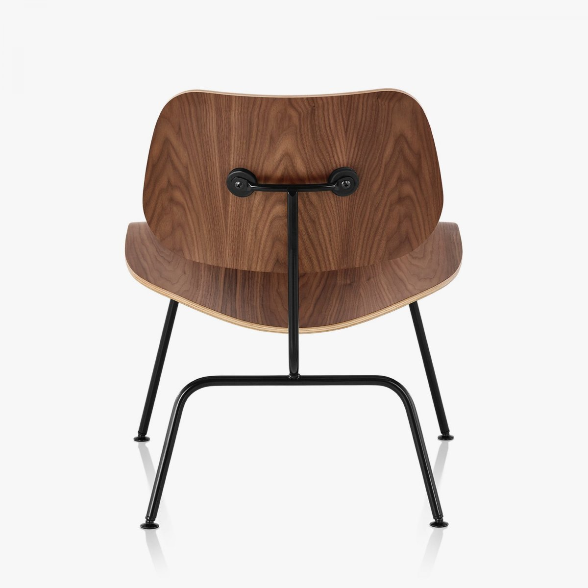 Eames Molded Plywood Lounge Chair Metal Base, walnut + black, back view.