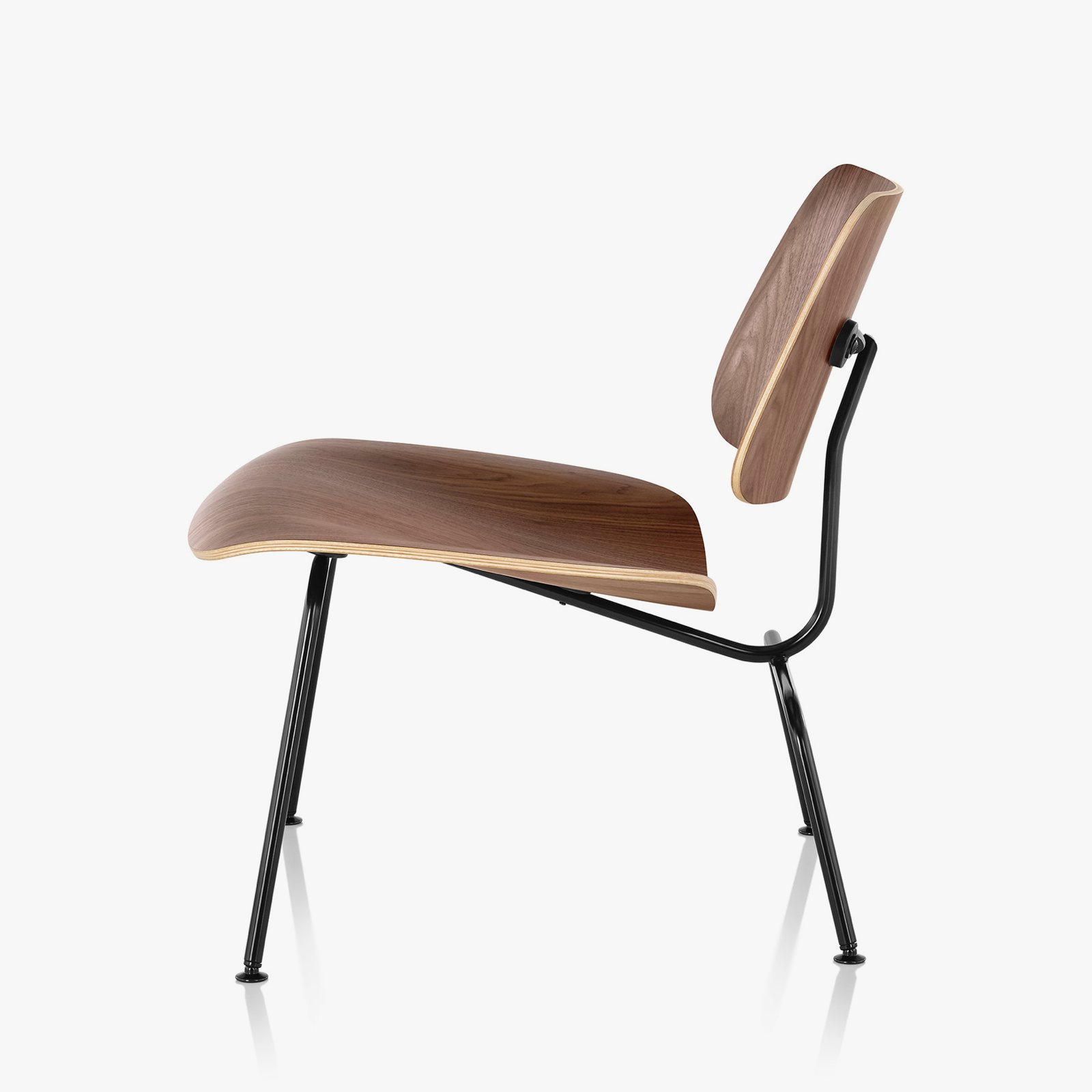 Eames Molded Plywood Lounge Chair Metal Base, Walnut + Black, Side View.