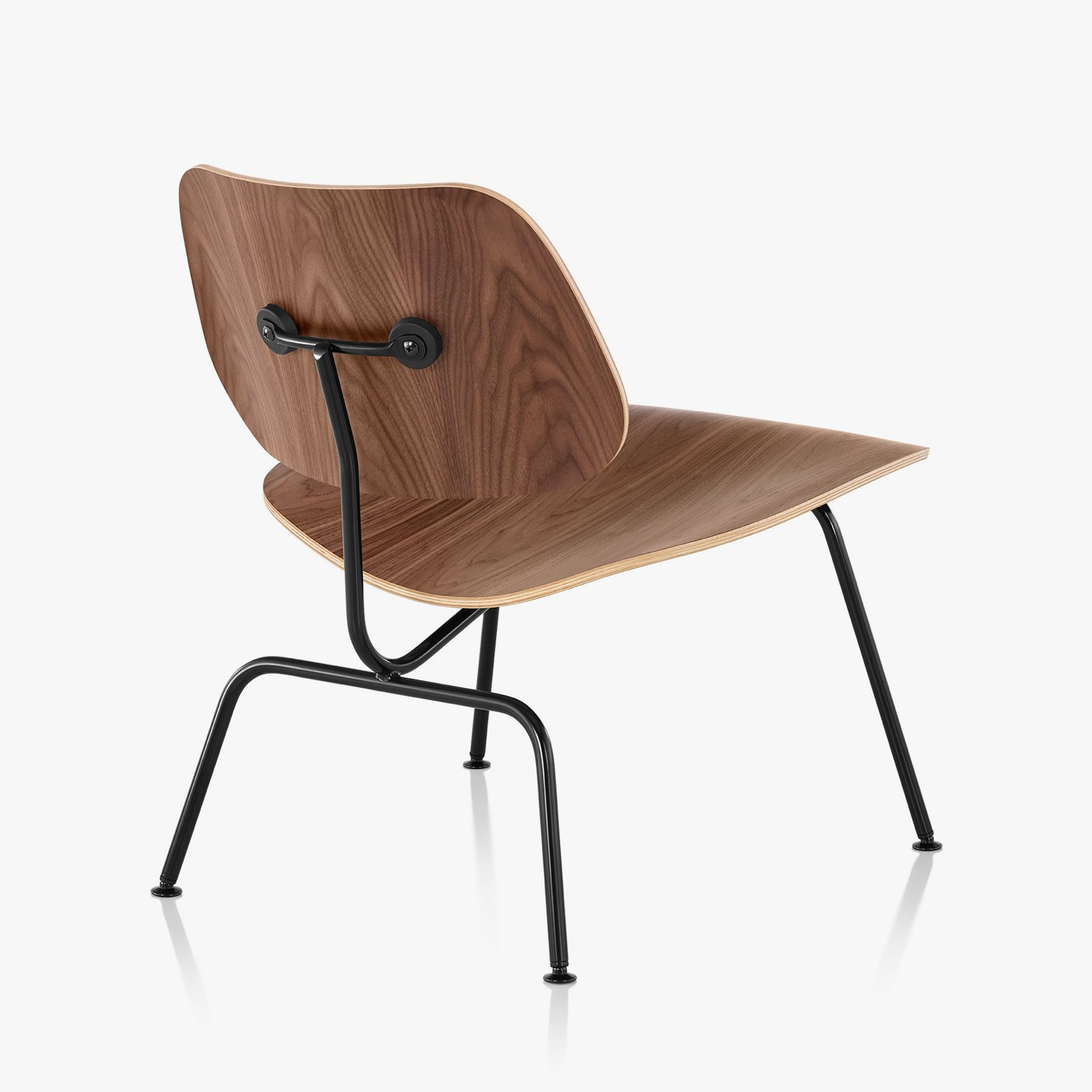 Eames Molded Plywood Lounge Chair Metal Base walnut + black back view. & Eames Molded Plywood Lounge Chair with Metal Base by Charles u0026 Ray ...