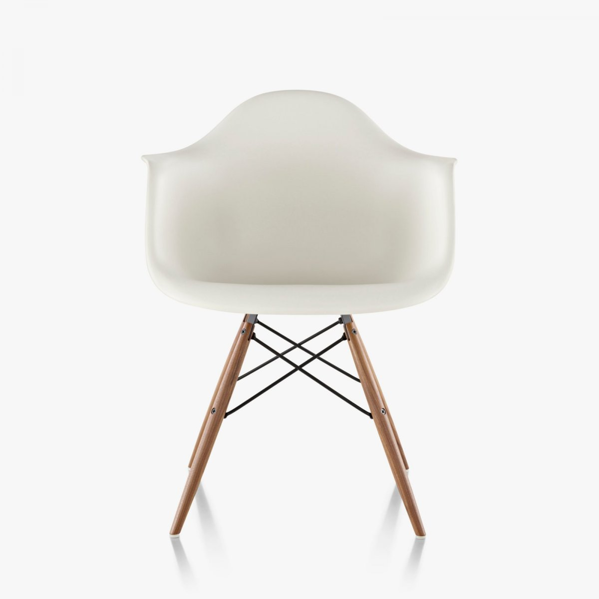 Eames Molded Plastic Armchair Dowel Base, white.
