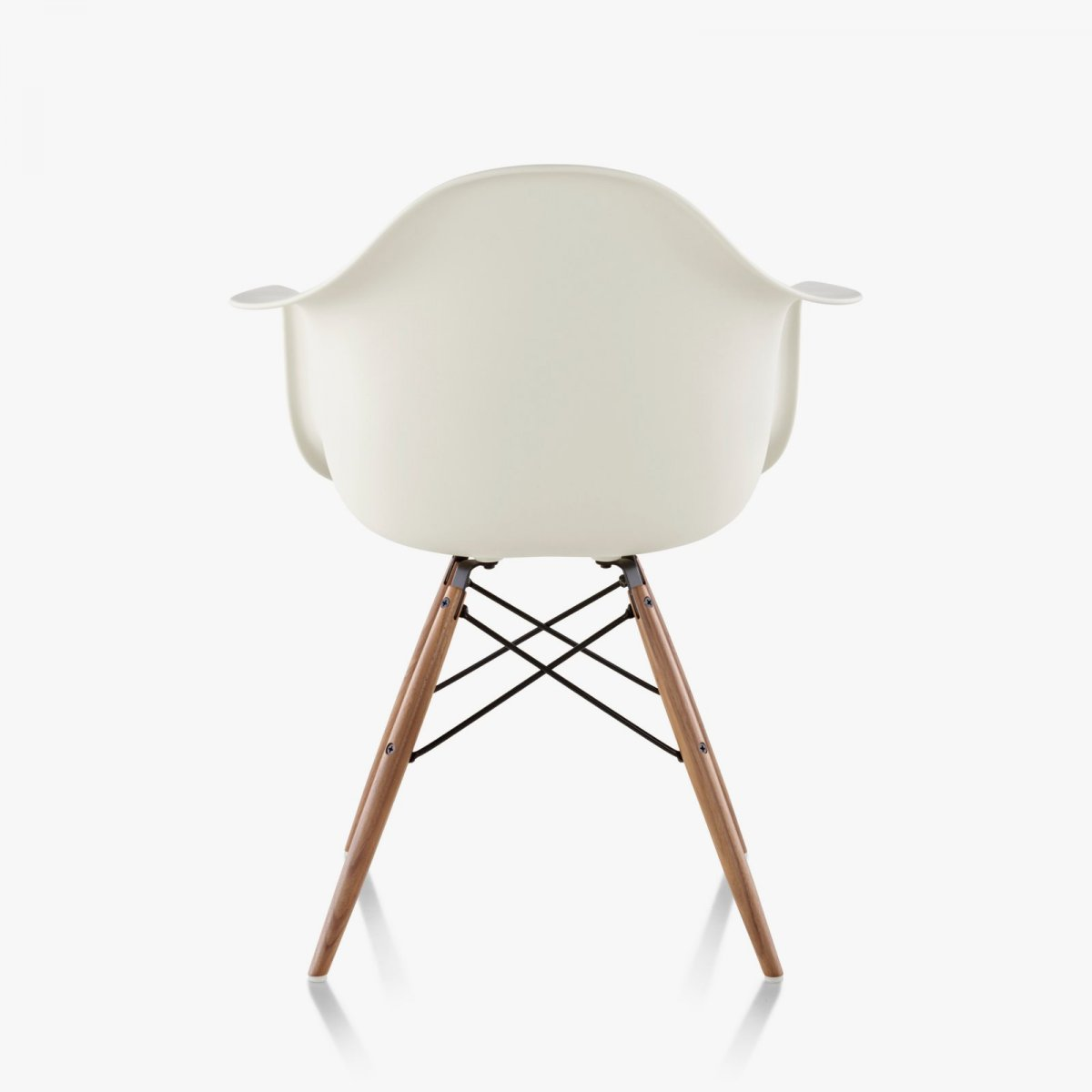 Eames Molded Plastic Armchair Dowel Base, white, back view.