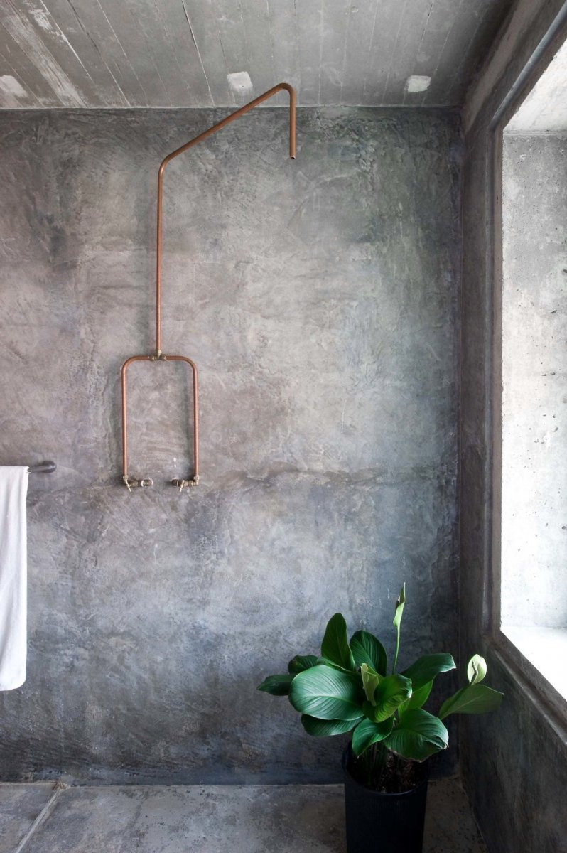 Rustic concrete shower. Home of Wen Hsia and Bc Ang