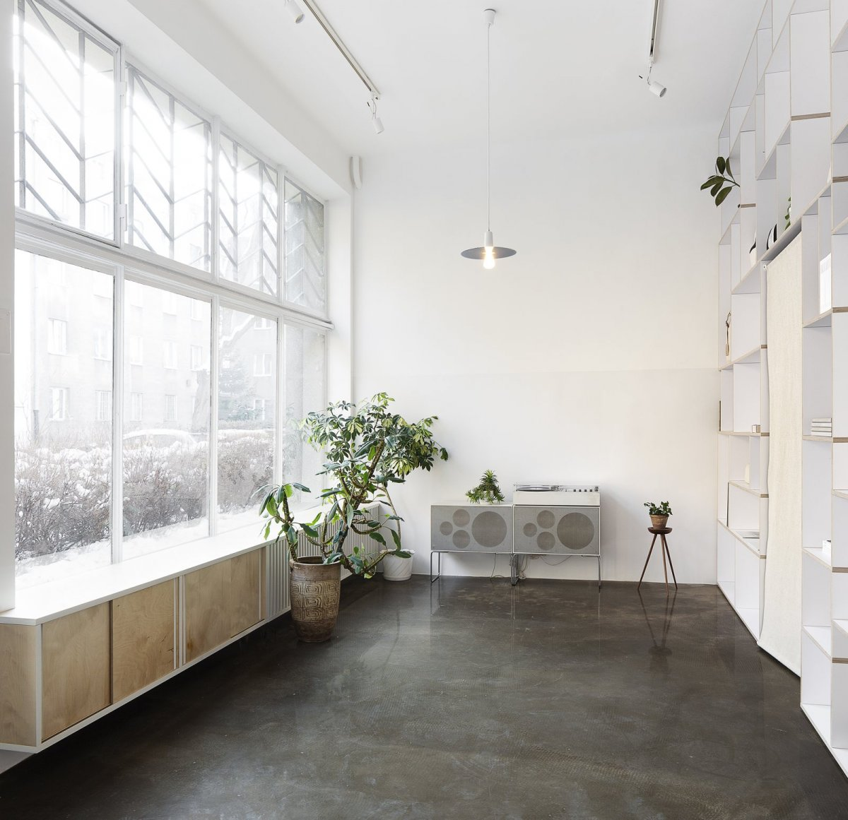 High ceiling retail space. Thisispaper flagship store