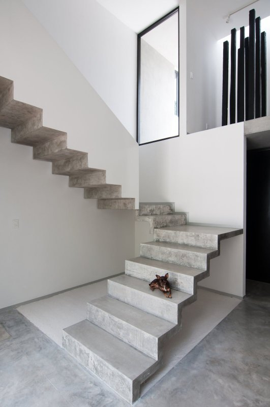 U-shaped concrete staircase. Casa Garcias by Warm Architects