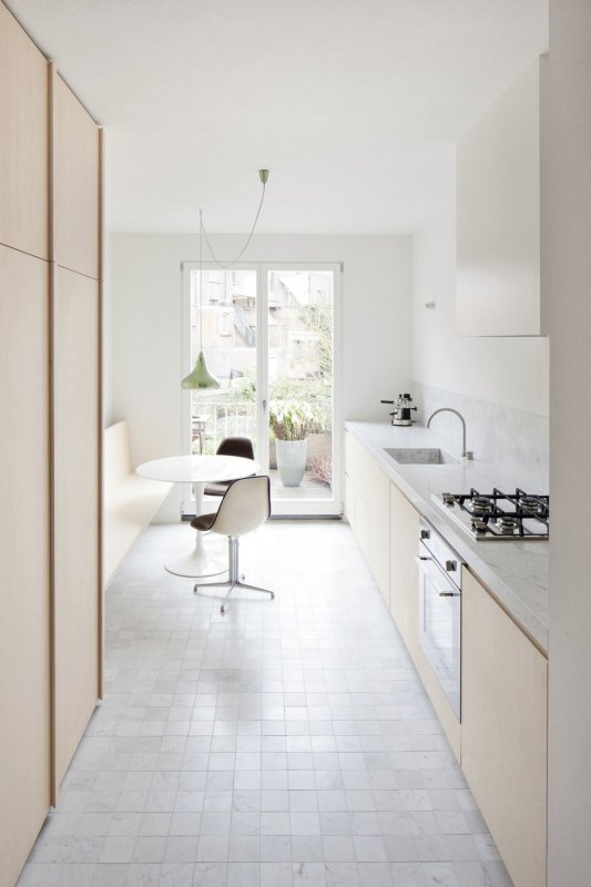 Small kitchen with dinette. House VV by Rolies + Dubois