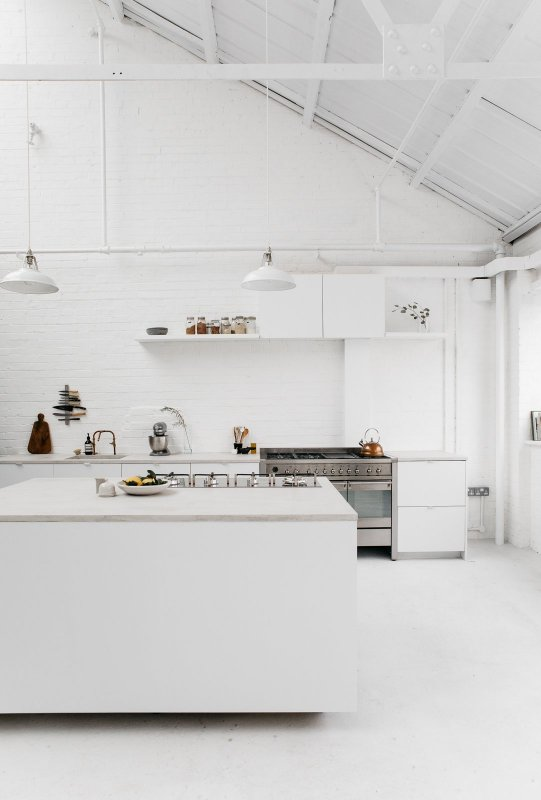 White industrial kitchen. Studio 8A by Rye London