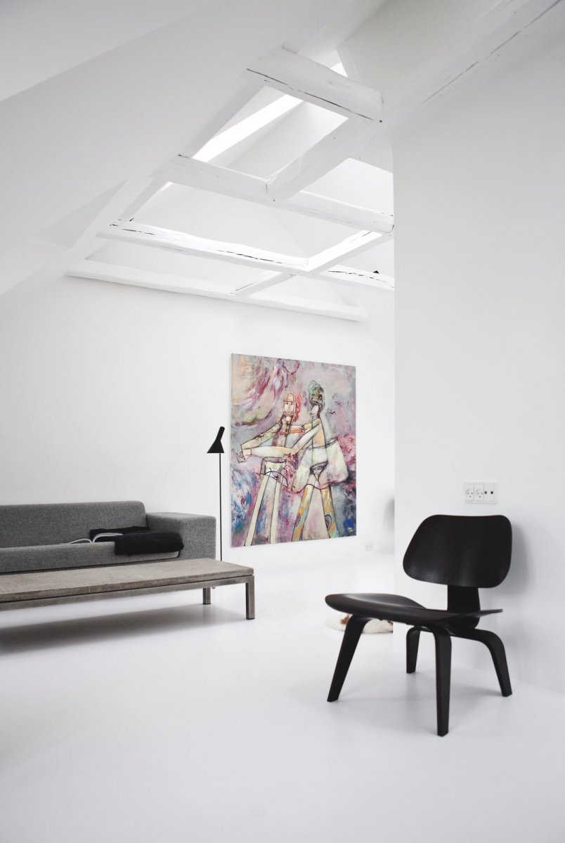 White attic living space. Copenhagen Townhouse II by Norm Architects