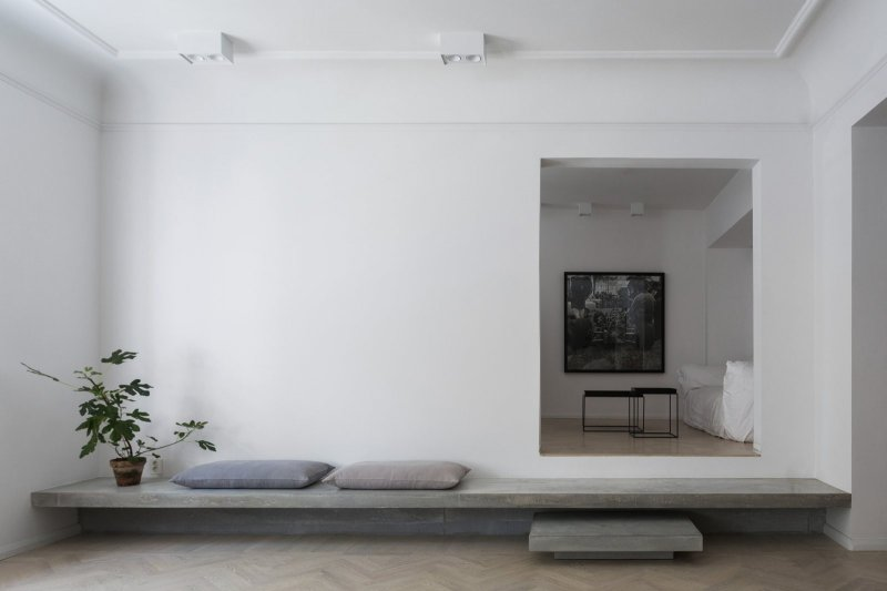 Concrete steps. Gold & Gray Apartment by Richard Lindvall