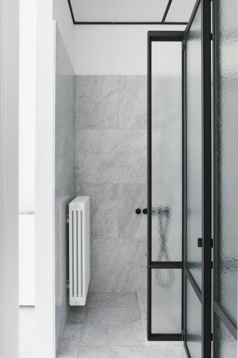 Monochrome bathroom. House F Antwerp by Hans Verstuyft Architecten