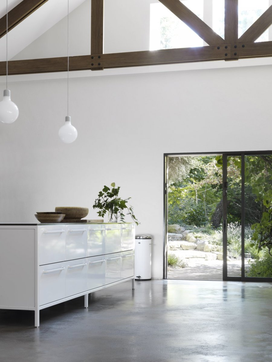 Contemporary block kitchen. Summer Residence of Marcus Wainwright