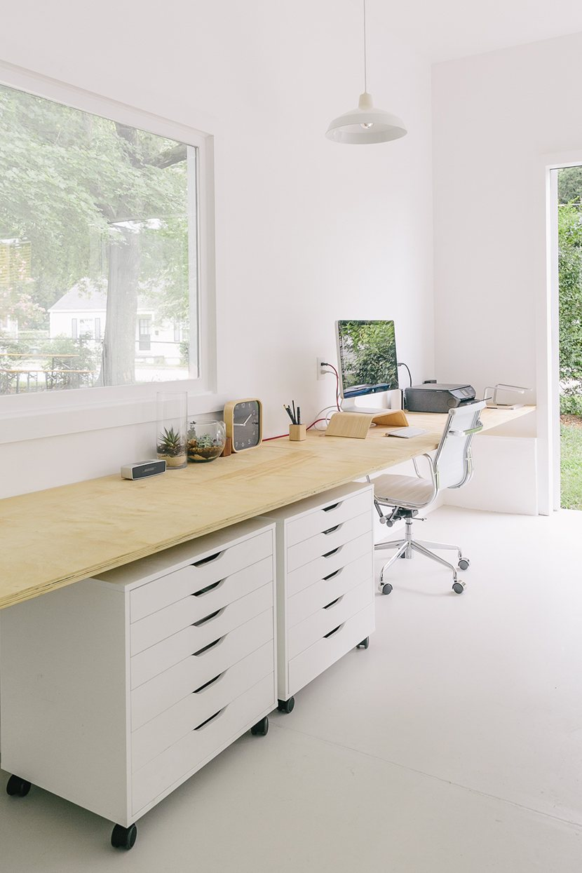 white and serene workspace studio of mike and megan gilger up interiors. Black Bedroom Furniture Sets. Home Design Ideas