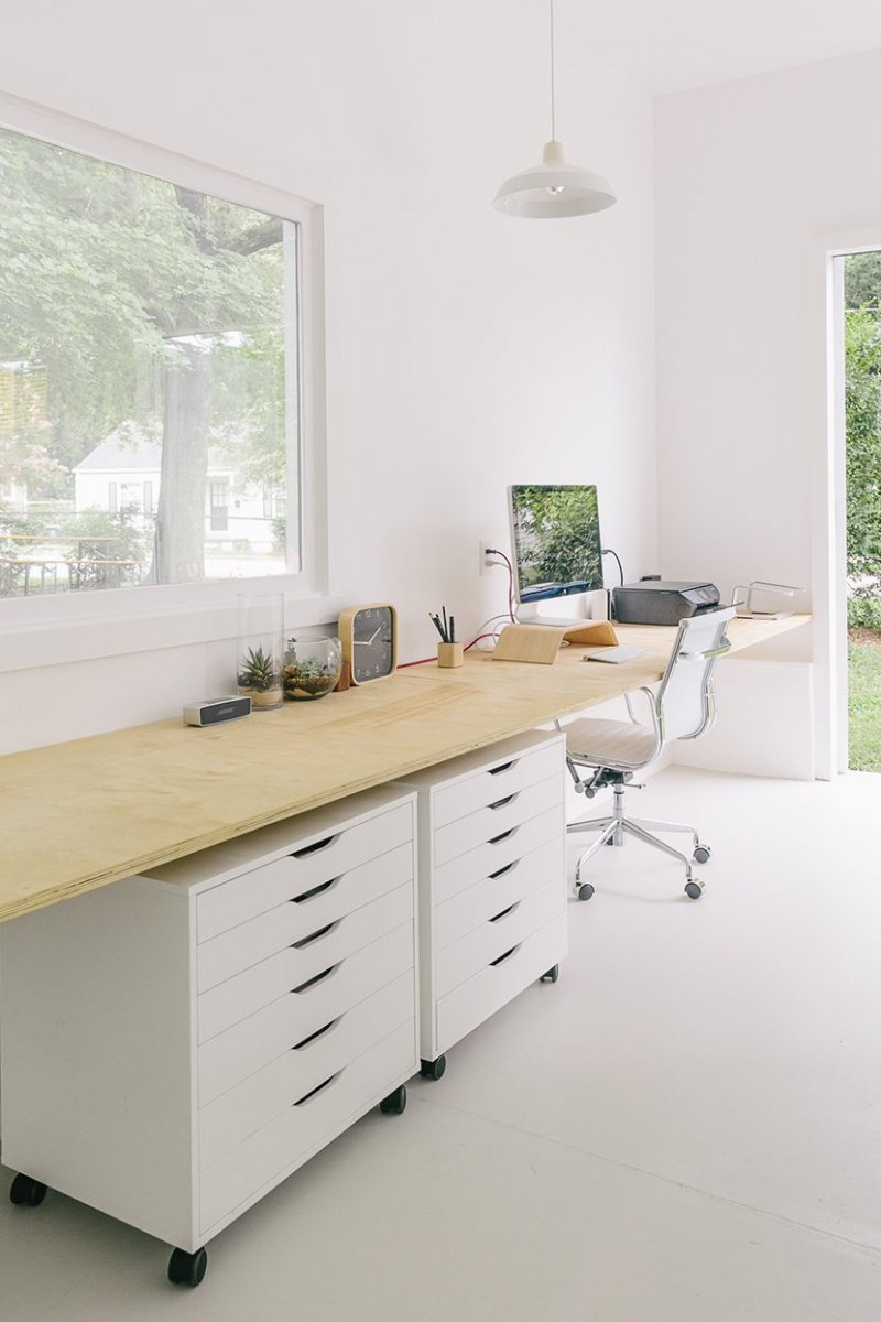 White and serene workspace. Studio of Mike and Megan Gilger