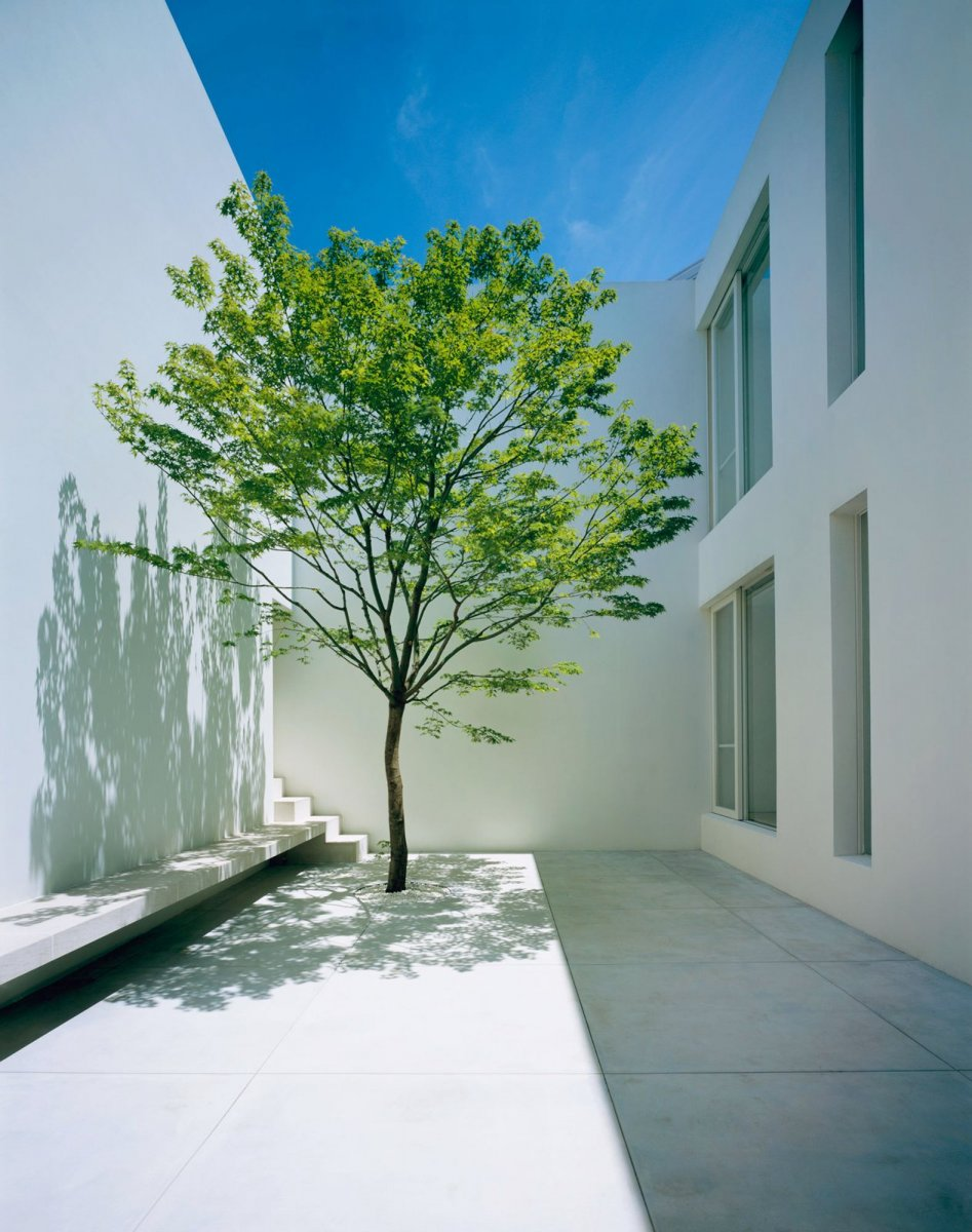 Double-height courtyard. Tetsuka House by John Pawson