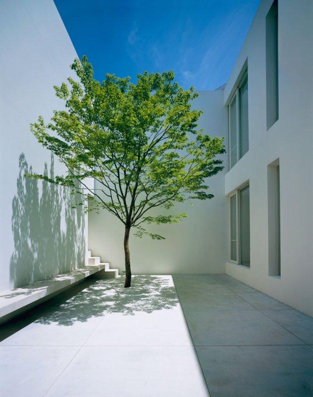 Double-height courtyard. Tetsuka House by John Pawson