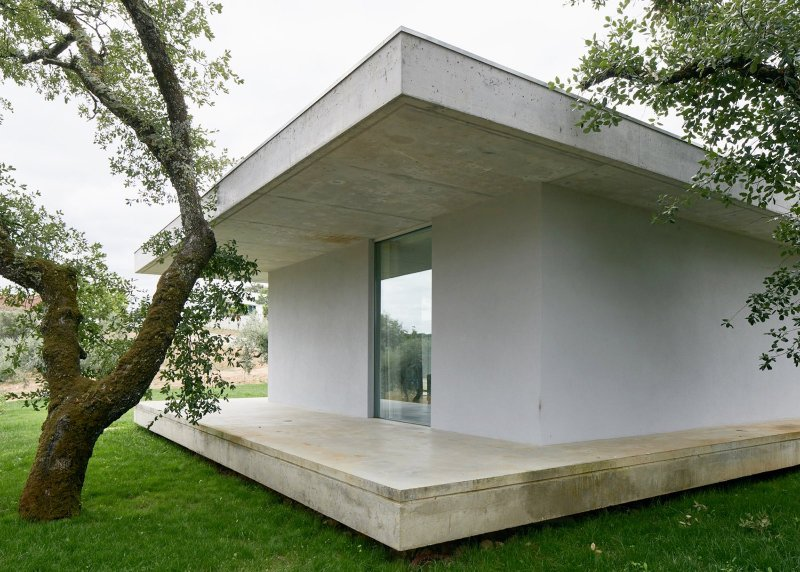 House sandwiched between two concrete slabs. Fanu House by Bruno Dias Arquitectura