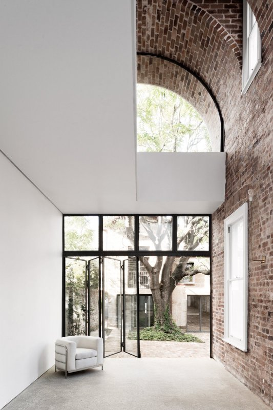 Double height brick vault ceiling. Italianate House by Renato D'Ettorre Architects